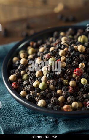 Raw Organic Mixed Peppercorns Ready to Use - Stock Photo