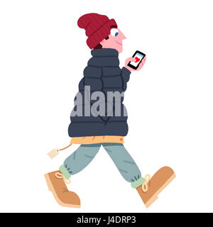 Man looking at heart on smart phone - Stock Photo