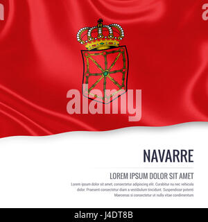 Spanish state Navarre flag waving on an isolated white background. State name and the text area for your message. - Stock Photo