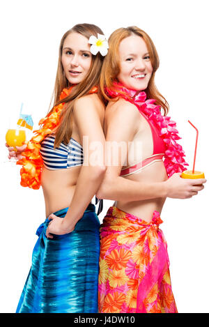 Two young girlfriends in bikini in Hawaiian image with cocktails on white background - Stock Photo
