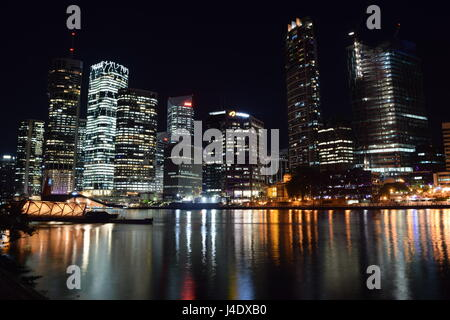 Brisbane City Night Skyline - Stock Photo
