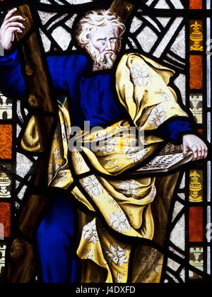Stained Glass Window Depicting St Andrew at the Church of St Andrew at Aldborough near Boroughbridge North Yorkshire - Stock Photo