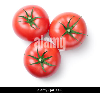 Pink tomatoes isolated on white background. Top view - Stock Photo