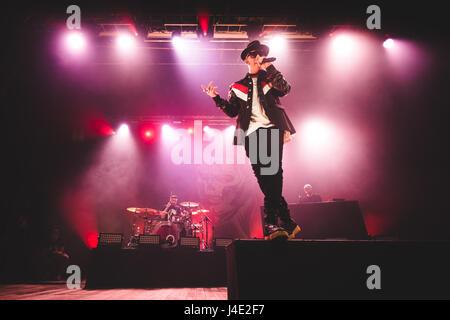 May 11, 2017: the italian rapper Salmo performing live on stage at the Teatro della Concordia in Venaria, near Torino. - Stock Photo