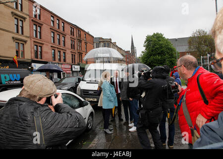 Patrick Glasgow 13 May 2017. First Minister Nicola Sturgeon campaigning in Partick Glasgow with Glasgow North Candidate - Stock Photo