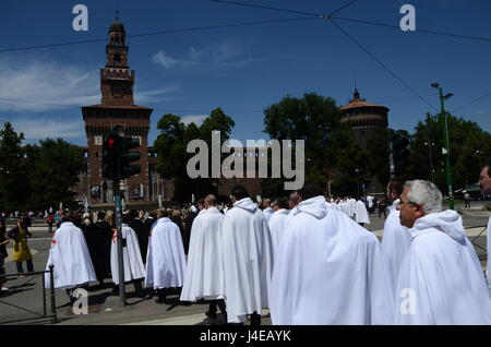 Milan, Italy - May 13th, 2017: Knight Templar (Cavalieri Templari) parade in front of Castello Sforzesco in the - Stock Photo