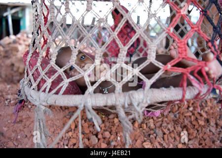 Dhaka, Bangladesh. 13th May, 2017. DHAKA, BANGLADESH - MAY 13, 2017: A baby lies on a hanging crib while the mother - Stock Photo