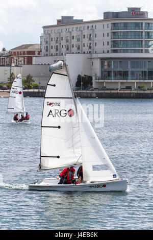 Southport, Merseyside, 13th May 2017. UK Weather.  After a dull & grey start to the day, sailors take the waters - Stock Photo