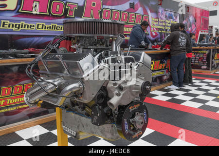 Torrance, USA - May 5 2017: Edelbrock High Performance engine on display during 12th Annual Edelbrock Car Show. - Stock Photo