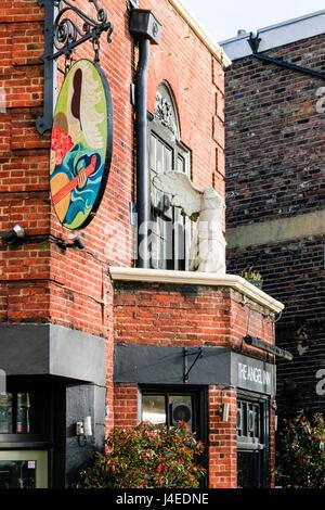 Detail of the entrance of the Angel Inn, Highgate Village, London, UK - Stock Photo