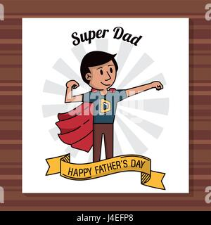 super dad happy fathers day card ribbon decoration - Stock Photo