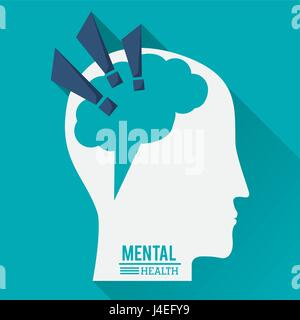 mental health, human head with brain in shape of exclamation mark - Stock Photo