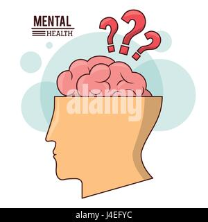mental health, human head brain with question mark symbol - Stock Photo