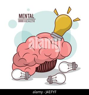 mental health, human brain bulb idea innovation mind - Stock Photo