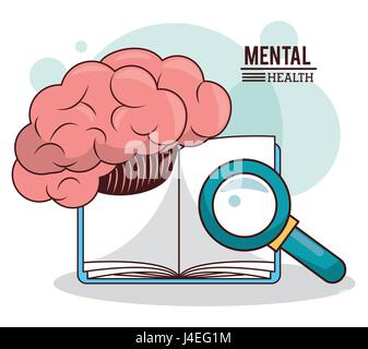 mental health, brain book magnifier knowledge - Stock Photo