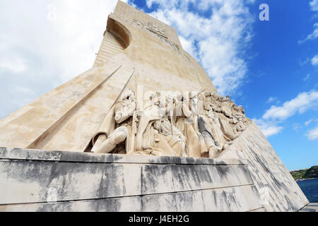Monument to the Discoveries beside the Tagus River, Belem, Lisbon, Portugal. - Stock Photo