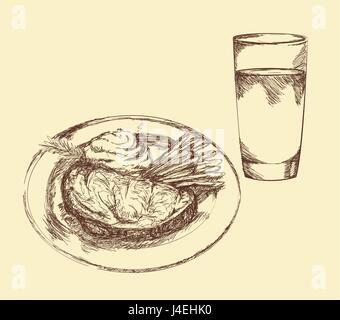 hand drawn food elements. food for menu decoration. vector illustration design - Stock Photo