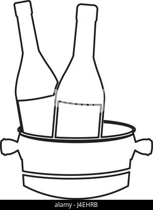 bottles wine with bucket cold line image - Stock Photo