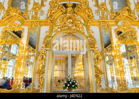 Doorway in the Ballroom, Catherine Palace, UNESCO World Heritage Site, Pushkin, near St. Petersburg, Russia, Europe - Stock Photo