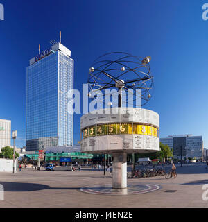 Weltzeituhr (world clock) and Hotel Park Inn, Alexanderplatz Square, Berlin Mitte, Berlin, Germany, Europe - Stock Photo