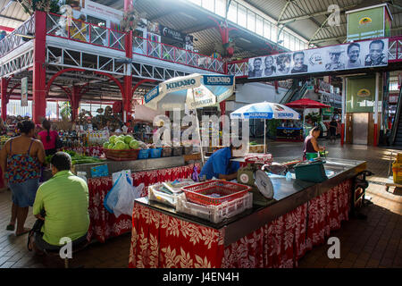 The central market of Papeete, Tahiti, Society Islands, French Polynesia, Pacific - Stock Photo