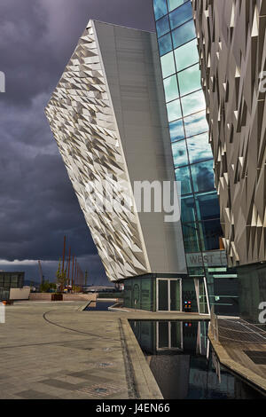 A view of the Titanic Museum, in the Titanic Quarter, Belfast, Ulster, Northern Ireland, United Kingdom, Europe - Stock Photo