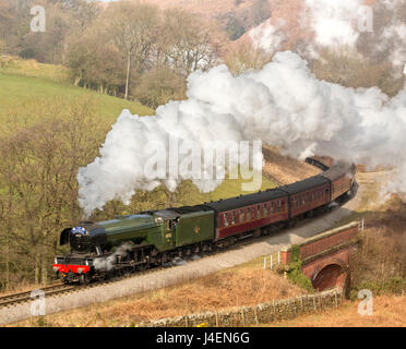 The Flying Scotsman steam locomotive arriving at Goathland station on the North Yorkshire Moors Railway, Yorkshire, - Stock Photo