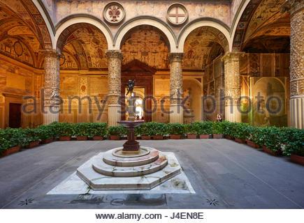 The courtyard of Palazzo Vecchio (Old Palace), Florence, Tuscany, Italy, Europe - Stock Photo