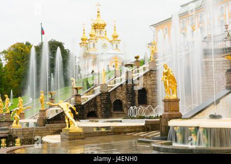 The Grand Cascade in front of the Grand Palace, Peterhof, UNESCO World Heritage Site, near St. Petersburg, Russia, - Stock Photo