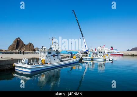 Boat harbour for vistitor boats in Shiretoko National Park, UNESCO World Heritage Site, Hokkaido, Japan, Asia - Stock Photo