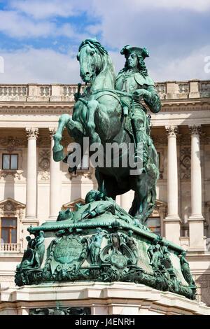 Equestrian statue of Prince Eugene of Savoy (Prinz Eugen von Savoyen), Hofburg palace, Heldenplatz, Vienna, Austria, - Stock Photo