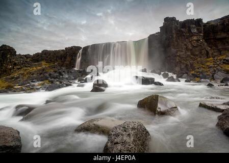 Oxararfoss waterfall, Thingvellir National Park, UNESCO World Heritage Site, Iceland, Polar Regions - Stock Photo