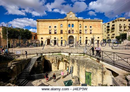Piazza Vittorio Veneto (Vittorio Veneto Square), Matera, Basilicata, Italy, Europe - Stock Photo