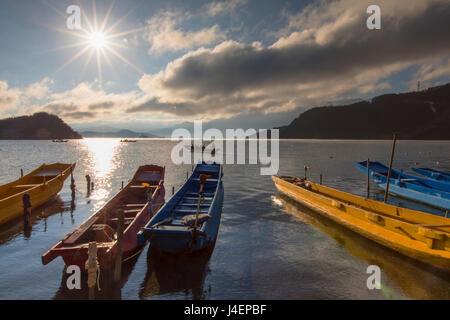 Boats on Lugu Lake, Lige village, Yunnan, China, Asia - Stock Photo