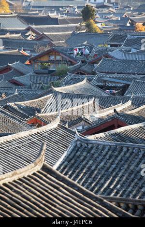 View of Lijiang, UNESCO World Heritage Site, Yunnan, China, Asia - Stock Photo