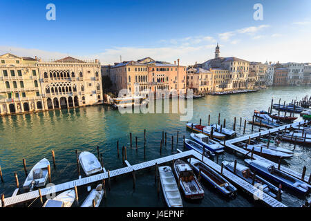 Ca D'Oro, famous Venetian Palace on Grand Canal, elevated view after snow, Venice, UNESCO World Heritage Site, Veneto, - Stock Photo