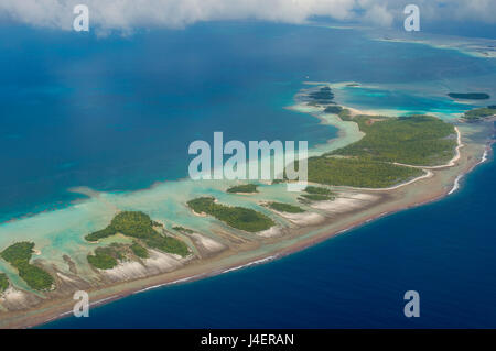 Aerial of the blue lagoon in Rangiroa, Tuamotus, French Polynesia, Pacific - Stock Photo