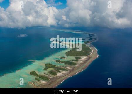 Aerial of the blue lagoon in Rangiroa, Tuamotus, French Polynesia, Pacific - Stock Photo