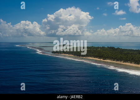 Aerial of Tikehau, Tuamotus, French Polynesia, Pacific - Stock Photo