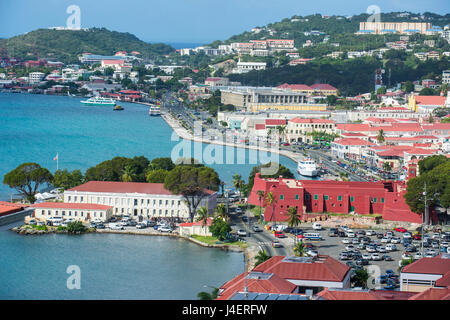 View over Charlotte Amalie, capital of St. Thomas, with Fort Christian, US Virgin Islands, West Indies, Caribbean - Stock Photo