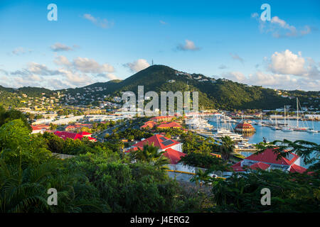 View over Charlotte Amalie, capital of St. Thomas, US Virgin Islands, West Indies, Caribbean, Central America - Stock Photo