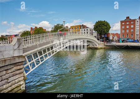 Ha'penny Bridge across the River Liffey, Dublin, Republic of Ireland, Europe - Stock Photo