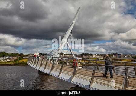 Peace Bridge, across the River Foyle, Derry (Londonderry), County Londonderry, Ulster, Northern Ireland, United - Stock Photo