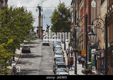 Shipquay Street, inside the walled city, Derry (Londonderry), County Londonderry, Ulster, Northern Ireland, United - Stock Photo
