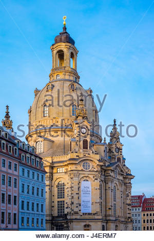 Dresdner Frauenkirche (Church of Our Lady) and buildings on Neumarkt, Altstadt (Old Town), Dresden, Saxony, Germany, - Stock Photo
