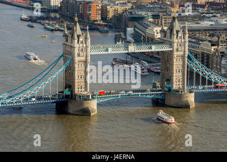 Aerial view of Tower Bridge and River Thames, London, England, United Kingdom, Europe - Stock Photo