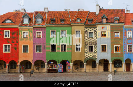 view of crooked medieval houses on the central market square in Poznan, PolandPoznan, Poland - Stock Photo
