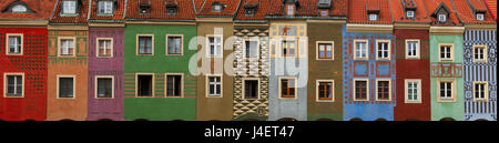 facades of crooked medieval houses on the central market square in Poznan, PolandPoznan, Poland - Stock Photo