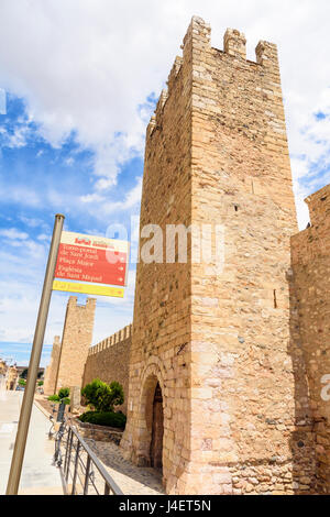 Sant Jordi tower-gate, famed for the legend of where St George killed the dragon, Montblanc, Tarragona, Catalonia, - Stock Photo