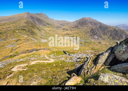 Snowdon viewde from the Yr Arran to the south, showing the South Ridge and The Watkin Path. Snowdonia, North Wales - Stock Photo